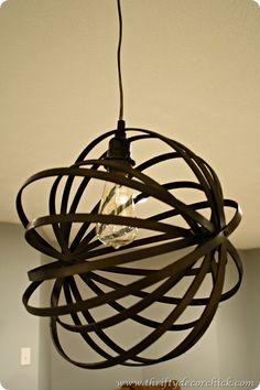 DIY an orb light using embroidery hoops - genius!