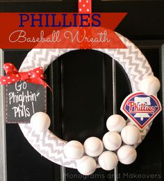 Love this, of course it would have to be St. Louis or Boston but it is so cute!  Phillies Baseball Wreath @monogramsandmakeovers.com via Michael's #wreaths #baseball