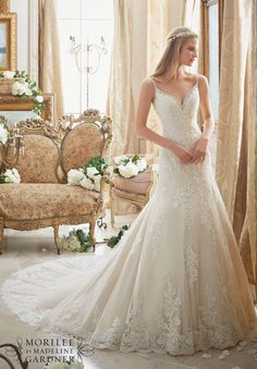 2883 Bridal Gowns / Dresses Diamante Beading Trims the Tulle Gown with Embroidered Lace Appliques and Scalloped Hemline