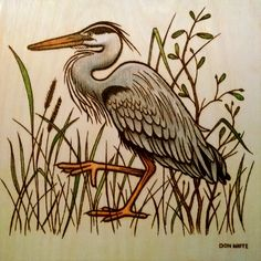 Blue Heron - 10 x 10 inch plywood. (Colored with Prismacolor & oil pencils.) (sold)
