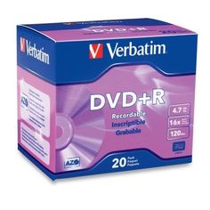 Verbatim 16x DVD+R Media - 4.7GB - 120mm Standard - 20 Pack Slim Case by Verbatim. $20.99. Verbatim 16x DVD+R Media - 4.7GB - 120mm Standard - 20 Pack Slim Case Verbatim DVD+R offer 4.7GB or 120 Minutes of write-once storage capacity, superior recording quality, and compatibility with 1x to 16x DVD+R writers. Verbatim's 16x cutting edge technology allows users to record a complete 4.7GB/120Min disc in approximately 5 minutes. Recognized as the choice for professional us...