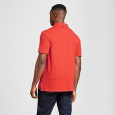 Men's Big & Tall Standard Fit Short Sleeve Solid Jersey Polo Shirt - Goodfellow & Co Orange 3XBT