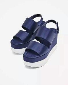 satin wedge sandals, Zara