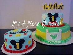 Mickey Mouse Cake and Smash Cake, Buttercream Icing - Cake by Rebecca