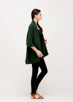 Basic Shawl Vest - Kelly Green.            #lookbym #shawlvest #shawl #vest #ootd #spring #fall #winter #fashion #womensfashion #basic #trend #bestseller #look #green #kellygreen #scarf #poncho