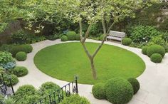 If the tree was in the centre of the circle of lawn, this design wouldn't work. Design by Del Buono Gazerwitz Landscape Architecture Modern Garden Design, Contemporary Landscape, Patio Design, Contemporary Office, Circular Garden Design, Contemporary Cottage, Contemporary Bedroom, Contemporary Building, Contemporary Chandelier