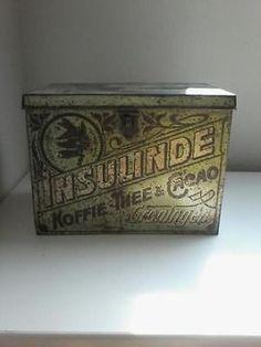Koffie/thee/cacao blik oud antiek.  Insulinde.