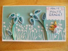 Quilled Thank you Flower Card by Karen Miniaci. Quilling Supplies from 'Quilled Creations'