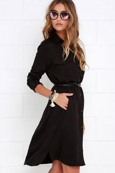Chic Black Shirt Dress