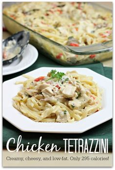 This Chicken Tetrazzini Recipe is creamy, cheesy, and low fat. Only 295 calories!