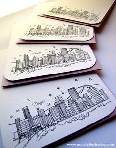 Denver, Colorado - United States - City Skyline Series - Notecards (8). $18.50, via Etsy.