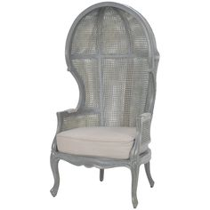 Grey Wash French Rattan Balloon Chair - French Country  Stairwell Parlor 2nd floor