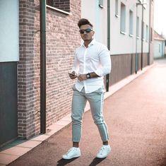 Look masculino com calça side band e camisa branca. Lá no blog Marco da Moda d5e95f27c2a
