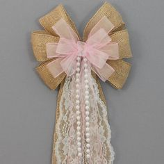 Pink Sheer Burlap Lace Pearl Wedding Pew Bow