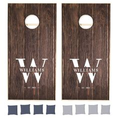Custom Rustic Farmhouse Family Monogram Name Wood Cornhole Set - tap to personalize and get yours #CornholeSet #family, #monogram, #rustic #modern #vintage,