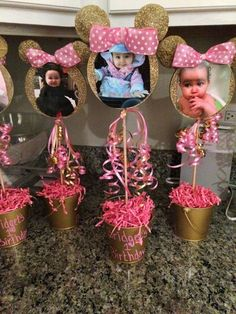 Minnie/Mickey Centerpieces/ Pink and Gold by LilLadybugCreation