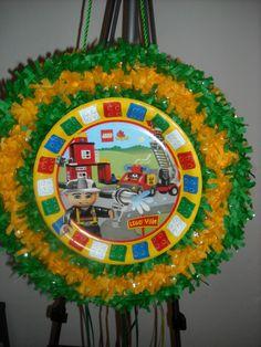 World of Pinatas - Lego Ville Pull String Pinata, $27.99 (http://www.worldofpinatas.com/lego-ville-pull-string-pinata/)
