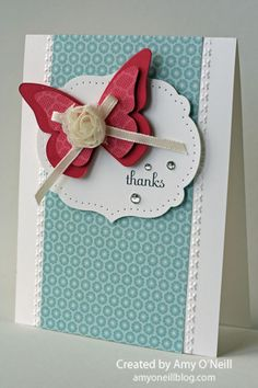 Beautiful Butterfly Die - gorgeous color combo, layering, and dry embossing