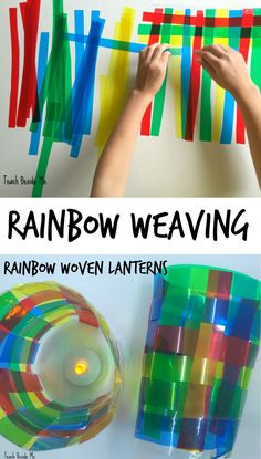 Rainbow weaving project with colored transparencies- art and science mixed!