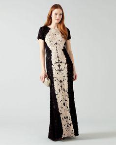 Phase Eight Zena Tapework Full Length Dress Black