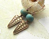 Beaded bronze earrings, bronze  earrings, Lampwork earrings,