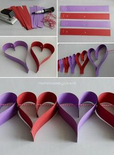 Hartjes slinger ❤️ leuk voor Valentijn, bruiloft of Moederdag. Hoe je deze slinger maakt en nog meer slingers staan op mijn blog Homemade by Joke.