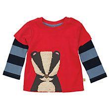 Buy Frugi Baby Organic Cotton Badger Layered Top, Red/Blue Online at johnlewis.com