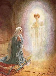 De engel Gabriël vertelt Maria dat zij een zoon zal baren
