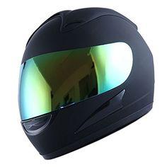Motorcycle Street Bike Matt Solid Black Full Face Adult Helmet