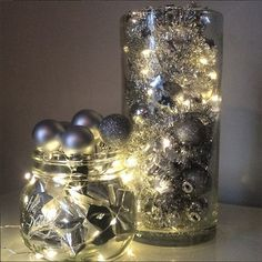Fill big vases or jars with a mixture of baubles and tinsel with a string of Christmas lights tied through Christmas Lights In Jars, Christmas Vases, Christmas Bells, All Things Christmas, Christmas Time, Christmas Crafts, Christmas Ideas, Christmas Wedding Decorations, Holiday Centerpieces