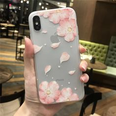 Cherry Petals 3D Relief Silicone Case For Iphone Lace Leaves Back Cover Floral Iphone Case, Iphone Cases, Flower Petals, Cherry, Leaves, 3d, Cover, Iphone Case, Prunus