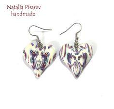 Polymer Clay Earrings Symmetric Pattern Hearts by NataliaPisarev