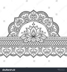 Seamless borders with mandala and Lotus flower for design, application of henna, Mehndi and tattoo. Decorative pattern in ethnic oriental style.