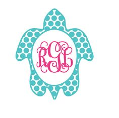 Sea Turtle Monogram Decal by Rebecca Lane Graphics on Etsy