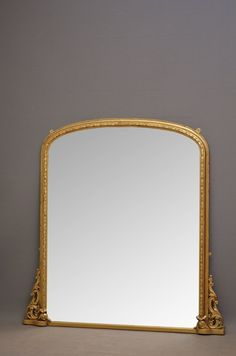 K0284   Excellent English, Victorian gilt mirror, having original mirror plate in carved and moulded frame with fine scroll carvings to sides. This Victorian overmantle - wall mirror has been refinished in the past and is in wonderful condition throughout - ready to place at home. 1870