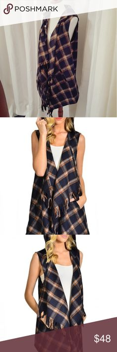chic plaid hooded vest Draped navy & rust plaid printed hooded vest with side pockets and fringe.  Fabulous layering piece for this fall & winter!  Fabric: 100% polyester  3% spandex  machine wash, line dry  Pictures are modeling a small  Thanks for shopping my closet!!!  Xoxo,  fab_bella Jackets & Coats Vests