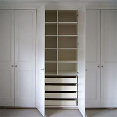 We offer some easy DIY tips on how to construct a basic fitted wardrobe or built-in cupboard using 16mm MDF, and that can be embellished with panels or moulding, routed with a design and then be painted in your choice of colour using water-based acrylic paint. Diy Built In Wardrobes, White Fitted Wardrobes, Bedroom Wardrobes Built In, Built In Wardrobe Doors, Bedroom Built In Wardrobe, Mirrored Wardrobe Doors, Wardrobe Door Handles, Closet Built Ins, Fitted Bedroom Furniture