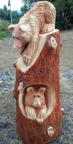 Wood Carving Designs, Wood Carving Art, Tree Carving, Wood Art, Chainsaw Wood Carving, Simple Wood Carving, Bear Decor, Recycled Art, Wood Sculpture