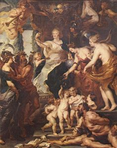 RUBENS, Peter Paul The Happiness of the Regency Oil on canvas, 394 x 295 cm Musée du Louvre, Paris Peter Paul Rubens, Anthony Van Dyck, Caravaggio, Rembrandt, Rubens Paintings, Oil Paintings, Cycle Painting, Palais Du Luxembourg, Free Art Prints