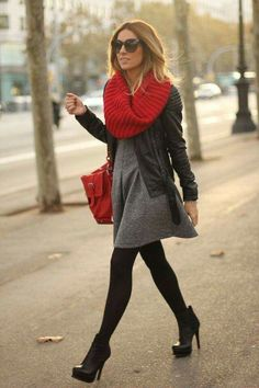 Casual chic / black and gray with pops of red