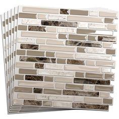 Shop Smart Tiles 10-in x 10-in Beige Mosaic Vinyl Tile at Lowes.com. $45 for 6 pieces. KITCHEN. PLEASE.