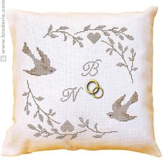 Wedding ring pillow - with cross stitch Wedding Pillows, Ring Pillow Wedding, Wedding Ring, Submarine Craft, Cross Stitch Cushion, Ring Bearer Pillows, Hd Wallpaper Iphone, Hd Wallpapers For Mobile, Cross Stitch Heart