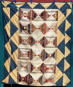 Courthouse Steps Log Cabin Crib Quilt, 1860-80, 45x52, from the estate and farm of Gladys Hasty Carroll, a prolific writer of the 1970's and 1980's, Maine. These quilts (and those on other pages) remained in the family on the Hasty farm from their early beginings, and were used and well taken care of, with repairs made as needed. The log cabin blocks include a variety of hand pieced vintage cotton prints, including many madders. On three sides, there is a wide border of alternating triangles…