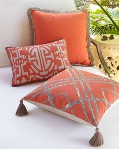 73v7 lacefield designs fringed coral outdoor pillow medallion outdoor lumbar pillow melon bamboo outdoor pillow