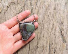 geometric stone geometric necklace bohemian necklace by MARIAELA
