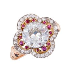 Edwardian Ruby Diamond Gold Platinum Ring   From a unique collection of vintage engagement rings at https://www.1stdibs.com/jewelry/rings/engagement-rings/
