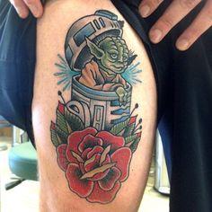 Yoda Coming Out of R2D2. Instagram-- @perjtattoo  #StarWars #Tattoo #StarWarsTattoo