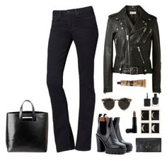 """""""How to wear: bootleg jeans"""" by sonia-yuno ❤ liked on Polyvore featuring Calvin Klein, Marc by Marc Jacobs, Yves Saint Laurent, Vivienne Westwood, Illesteva, J APOSTROPHE, Youngblood, Aesop, casual and black"""