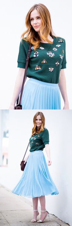 Pair our favorite pale blue pleated skirt with Alyssa Campanella's Closet VIP, our hunter green embellished short sleeve sweater. This sweater adds a touch of glam to your Spring / Summer look and is easily accessorized with our leather red wine handbag | Banana Republic