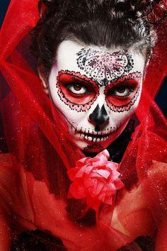 Photograph halloween make up sugar skull by Olena Zaskochenko on andrew raynor Sugar Skull Girl Tattoo, Skull Tattoos, Girl Tattoos, Halloween Masks, Halloween Make Up, Halloween Face Makeup, Halloween Ideas, Sugar Scull, Sugar Skull Art